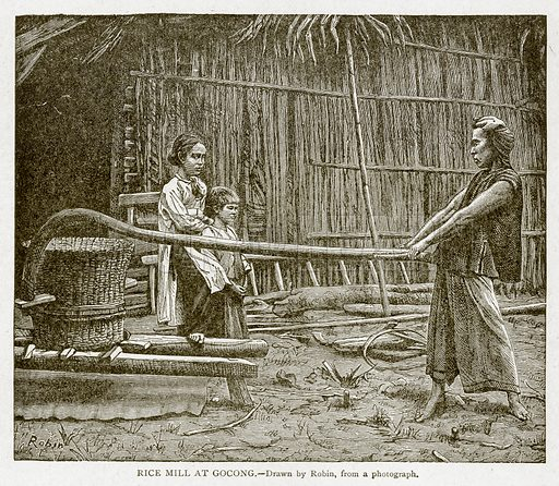 Rice Mill at Gocong. Illustration from With the World's People by John Clark Ridpath (Clark E Ridpath, 1912).