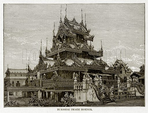 Burmese Image Houses. Illustration from With the World's People by John Clark Ridpath (Clark E Ridpath, 1912).