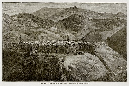 View in Burmah.--Citadel of Muong Ngan. Illustration from With the World's People by John Clark Ridpath (Clark E Ridpath, 1912).