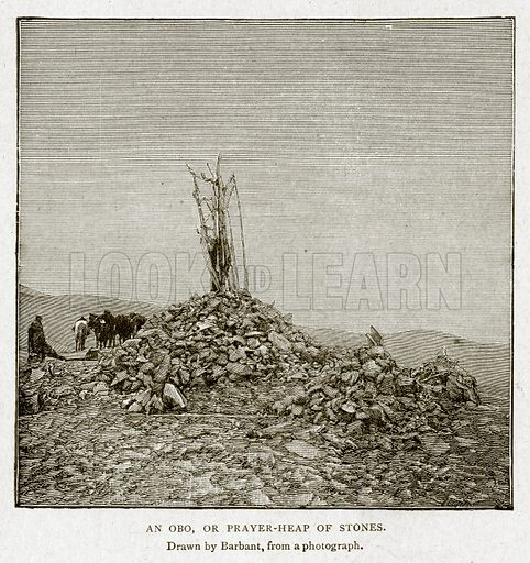 An Obo, or Prayer-Heap of Stones. Illustration from With the World's People by John Clark Ridpath (Clark E Ridpath, 1912).