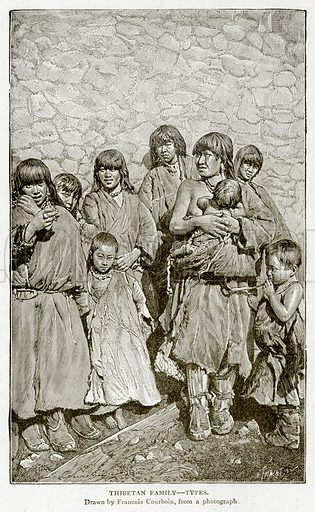 Thibetan Family--Types. Illustration from With the World's People by John Clark Ridpath (Clark E Ridpath, 1912).