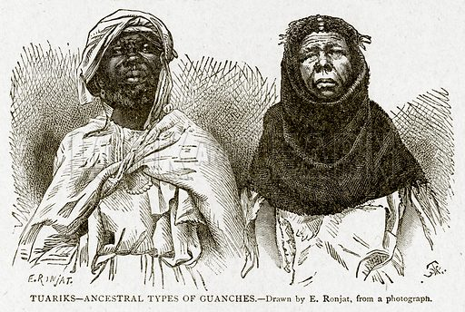 Tuariks--Ancestral Types of Guanches. Illustration from With the World's People by John Clark Ridpath (Clark E Ridpath, 1912).