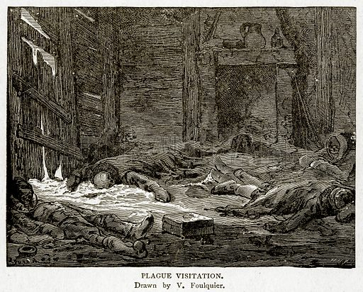 Plague Visitation. Illustration from With the World's People by John Clark Ridpath (Clark E Ridpath, 1912).