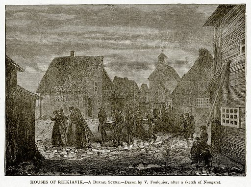 Houses of Reikiavik.--A Burial Scene. Illustration from With the World