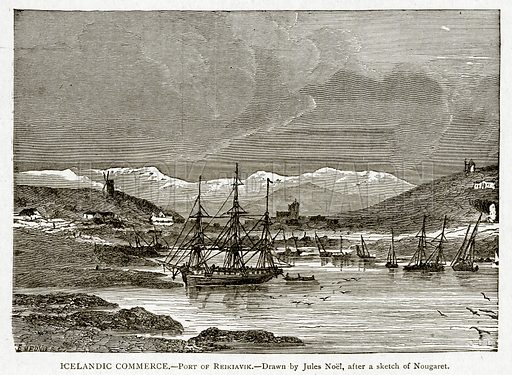 Icelandic Commerce.--Port of Reikiavik. Illustration from With the World