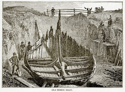 Old Norse Boat. Illustration from With the World's People by John Clark Ridpath (Clark E Ridpath, 1912).