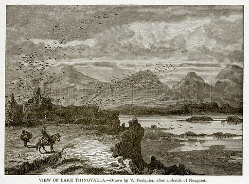 View of Lake Thingvalla. Illustration from With the World's People by John Clark Ridpath (Clark E Ridpath, 1912).