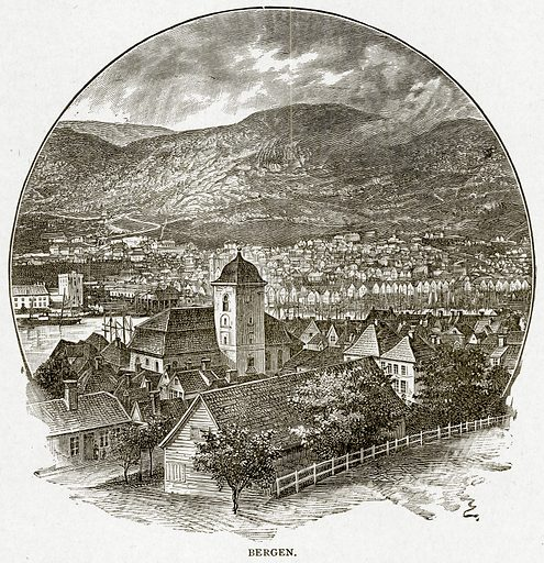 Bergen. Illustration from With the World's People by John Clark Ridpath (Clark E Ridpath, 1912).
