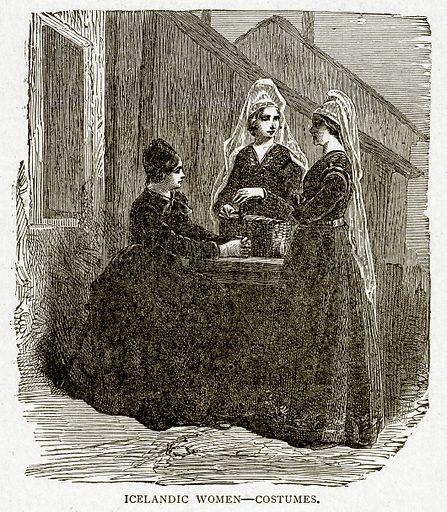 Icelandic Women – Costumes. Illustration from With the World's People by John Clark Ridpath (Clark E Ridpath, 1912).