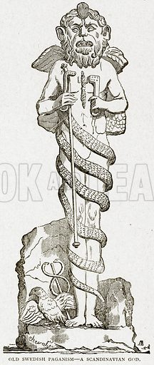 Old Swedish Pagaism--A Scandinavian God. Illustration from With the World's People by John Clark Ridpath (Clark E Ridpath, 1912).