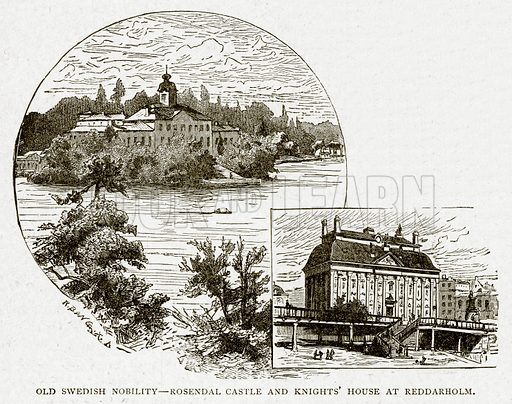 Old Swedish Nobility – Rosendal Castle and Knights' House at Reddarholm. Illustration from With the World's People by John Clark Ridpath (Clark E Ridpath, 1912).