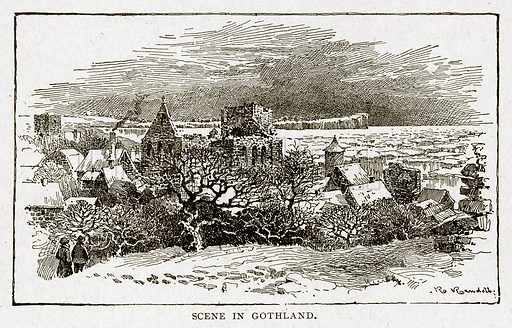 Scene in Gothland. Illustration from With the World's People by John Clark Ridpath (Clark E Ridpath, 1912).