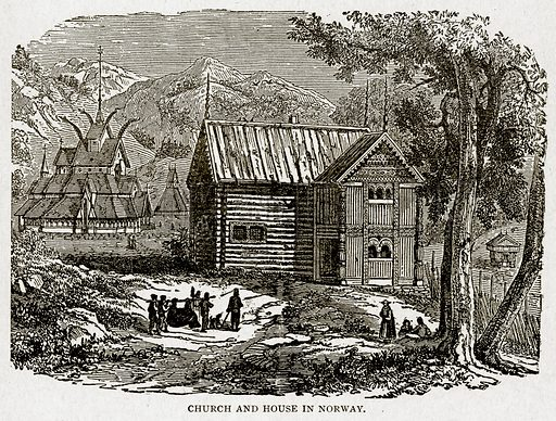 Church and House in Norway. Illustration from With the World's People by John Clark Ridpath (Clark E Ridpath, 1912).