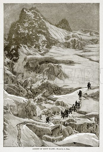 Ascent of Mont Blanc. Illustration from With the World's People by John Clark Ridpath (Clark E Ridpath, 1912).