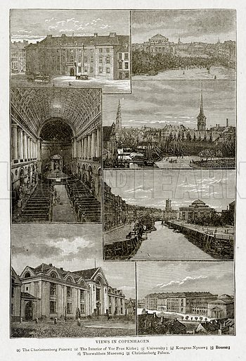 Views in Copenhagen. (1) The Charlottenberg Palace; (2) The Interior of Vor Frue Kirke; (3) University; (4) Kongens Nytorv; (5) Bourse; (6) Thorwaldsen Museum; (7) Christianberg Palace. Illustration from With the World