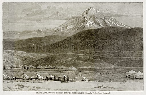 Grand Ararat with Cossack Camp in Foregound. Illustration from With the World