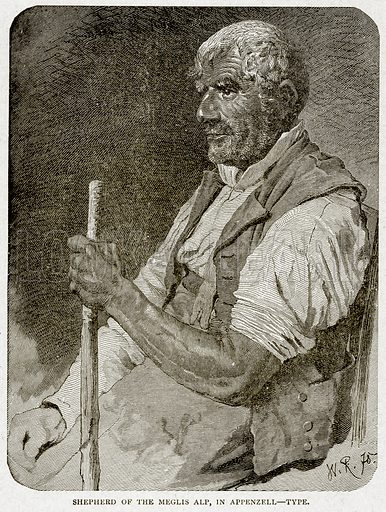Shepherd of the Meglis Alp, in Appenzell--Type. Illustration from With the World's People by John Clark Ridpath (Clark E Ridpath, 1912).