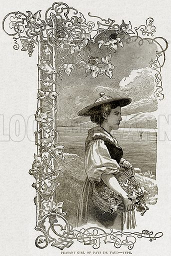 Peasant Girl of Pays de Vaud--Type. Illustration from With the World's People by John Clark Ridpath (Clark E Ridpath, 1912).