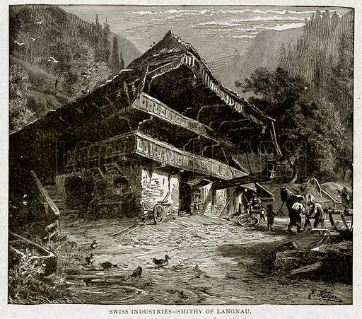 Swiss Industries – Smithy of Langnau. Illustration from With the World's People by John Clark Ridpath (Clark E Ridpath, 1912).