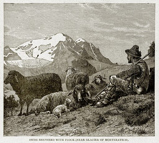 Swiss Shepherd with Flock (near Glacier of Morteratsch). Illustration from With the World's People by John Clark Ridpath (Clark E Ridpath, 1912).