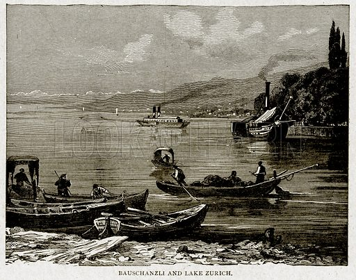 Bauschanzli and Lake Zurich. Illustration from With the World's People by John Clark Ridpath (Clark E Ridpath, 1912).