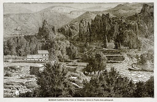 Russian Landscape. – View of Ghiroussi. Illustration from With the World's People by John Clark Ridpath (Clark E Ridpath, 1912).