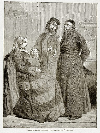 Lithuanian Jews--Types. Illustration from With the World's People by John Clark Ridpath (Clark E Ridpath, 1912).