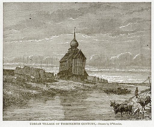 Udrian Village of Thirteenth Century. Illustration from With the World