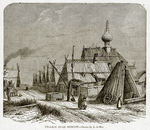 Village near Moscow. Illustration from With the World's People by John Clark Ridpath (Clark E Ridpath, 1912).