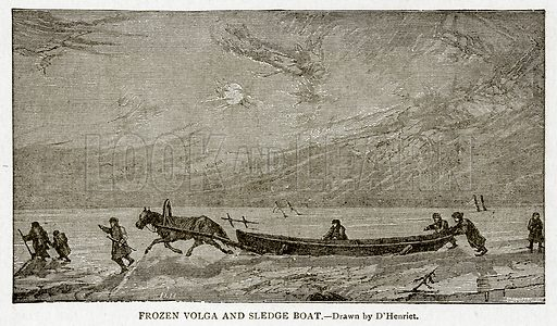 Frozen Volga and Sledge Boat. Illustration from With the World's People by John Clark Ridpath (Clark E Ridpath, 1912).