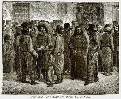 West Slav Jew Merchants – Types. Illustration from With the World's People by John Clark Ridpath (Clark E Ridpath, 1912).