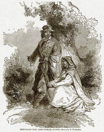 Bohemian Man and Woman. Illustration from With the World's People by John Clark Ridpath (Clark E Ridpath, 1912).