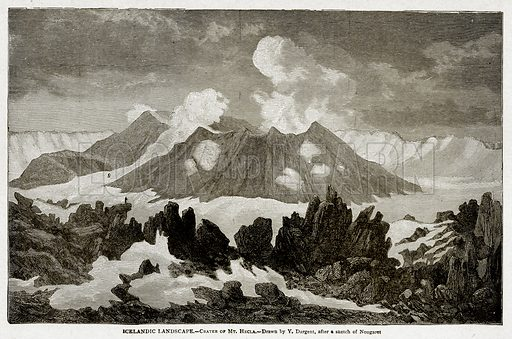 Icelandic Landscape. – Crater of Mt Hecla. Illustration from With the World's People by John Clark Ridpath (Clark E Ridpath, 1912).