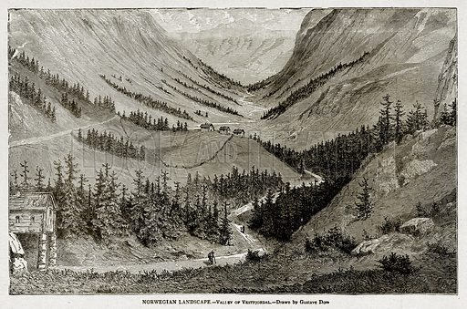Norwegian Landscape. – Valley of Vestfjordal. Illustration from With the World's People by John Clark Ridpath (Clark E Ridpath, 1912).