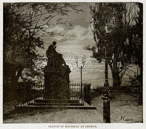 Statue of Rousseau at Geneva. Illustration from With the World's People by John Clark Ridpath (Clark E Ridpath, 1912).