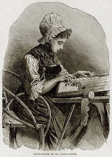 Lace-Maker of St Gall – Type. Illustration from With the World's People by John Clark Ridpath (Clark E Ridpath, 1912).
