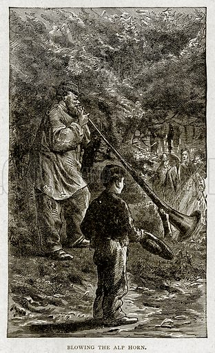 Blowing the Alp Horn. Illustration from With the World's People by John Clark Ridpath (Clark E Ridpath, 1912).