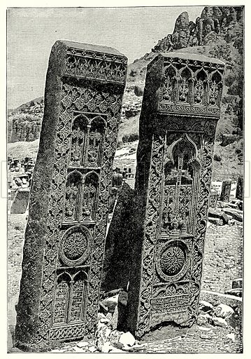 Ancient Slavic Sculptures and Inscription. Illustration from With the World's People by John Clark Ridpath (Clark E Ridpath, 1912).