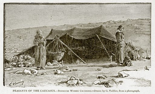 Peasants of the Caucasus.--Bourouki Women Churning. Illustration from With the World's People by John Clark Ridpath (Clark E Ridpath, 1912).