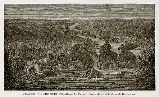 Traversing the Steppes. Illustration from With the World's People by John Clark Ridpath (Clark E Ridpath, 1912).