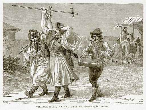 Village Musician and Gypsies. Illustration from With the World's People by John Clark Ridpath (Clark E Ridpath, 1912).