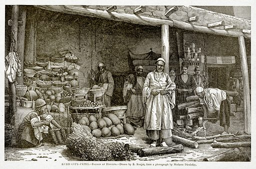 Kurd City-Types. – Bazaar at Dioulfa. Illustration from With the World's People by John Clark Ridpath (Clark E Ridpath, 1912).