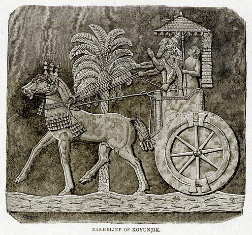 Bas-Relief of Koyunjik. Illustration from With the World's People by John Clark Ridpath (Clark E Ridpath, 1912).