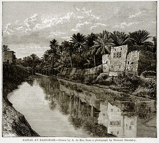 Canal at Bassorah. Illustration from With the World's People by John Clark Ridpath (Clark E Ridpath, 1912).