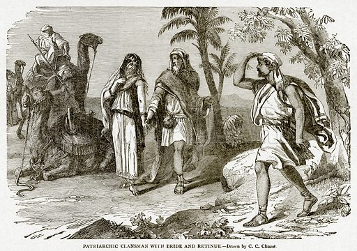 Patriarchic Clansman with Bride and Retinue. Illustration from With the World's People by John Clark Ridpath (Clark E Ridpath, 1912).
