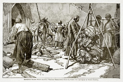 Chaldee Trade with Arabia. – Weighing Merchandise. Illustration from With the World's People by John Clark Ridpath (Clark E Ridpath, 1912).