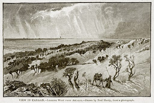 View in Canaan.--Looking West and Ascalon. Illustration from With the World's People by John Clark Ridpath (Clark E Ridpath, 1912).