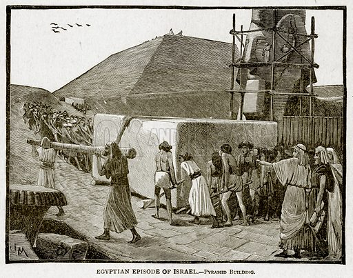 Egyptain Episode of Israel. – Pyramid Building. Illustration from With the World's People by John Clark Ridpath (Clark E Ridpath, 1912).