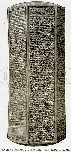 Ancient Aramaic Cylinder with Inscriptions. Illustration from With the World's People by John Clark Ridpath (Clark E Ridpath, 1912).