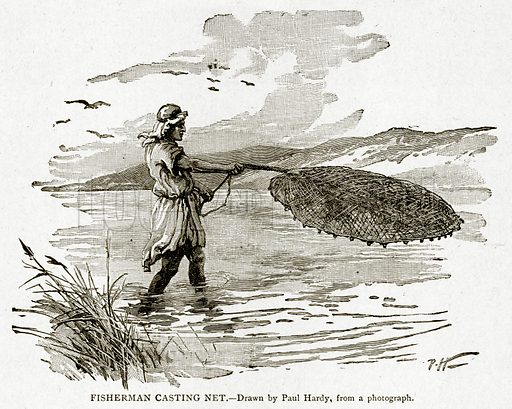 Fisherman Casting Net. Illustration from With the World's People by John Clark Ridpath (Clark E Ridpath, 1912).